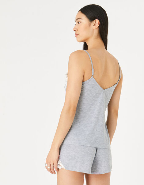 Lace Trim Pyjama Set Grey, Grey (GREY), large
