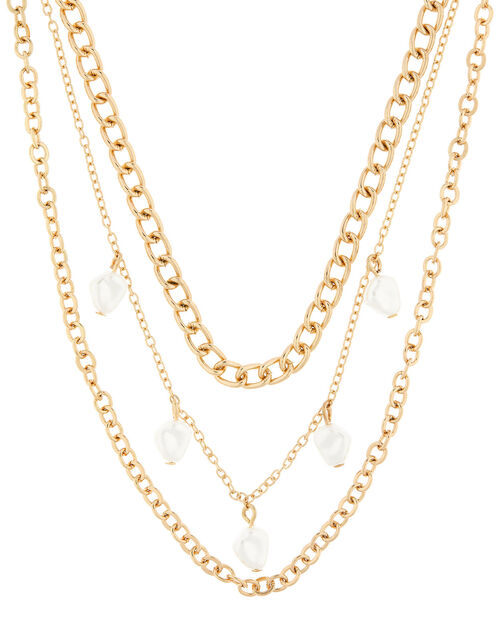 Multi-Row Curb Chain Pearl Necklace, , large