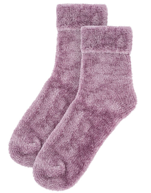 Fluffy Chenille Cosy Ankle Socks, , large