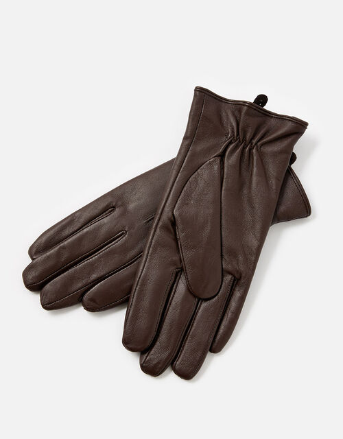 Luxe Leather Gloves, Brown (CHOCOLATE), large