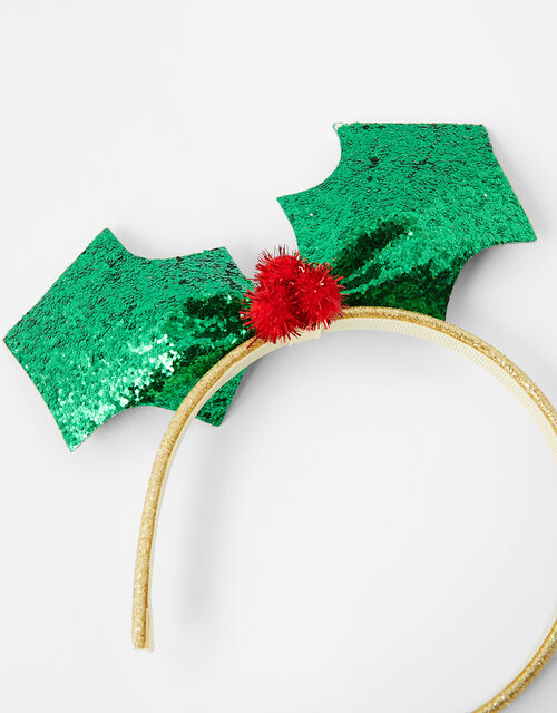 Glitter Holly Festive Headband, , large