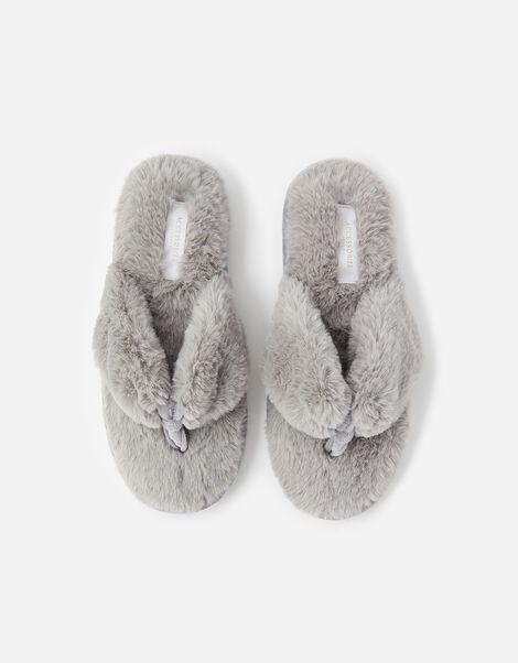Laura Fluffy Thong Slippers Grey, Grey (GREY), large