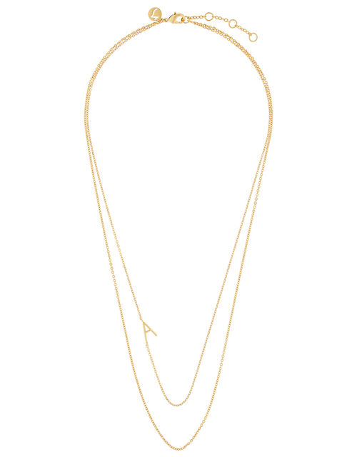 Gold-Plated Double Chain Initial Necklace - A, , large