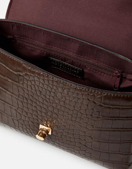 Jessica Croc Handheld Bag, Brown (CHOCOLATE), large