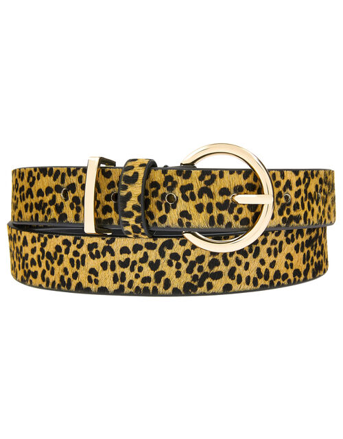Leopard Print Leather Jeans Belt, Leopard (LEOPARD), large