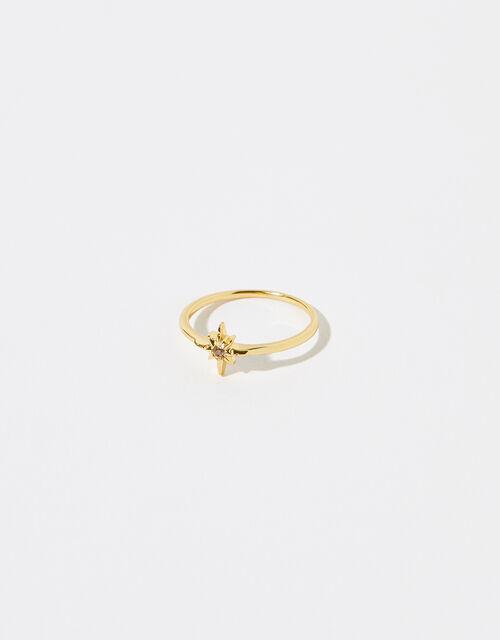 Gold Vermeil White Topaz Star Ring, Gold (GOLD), large