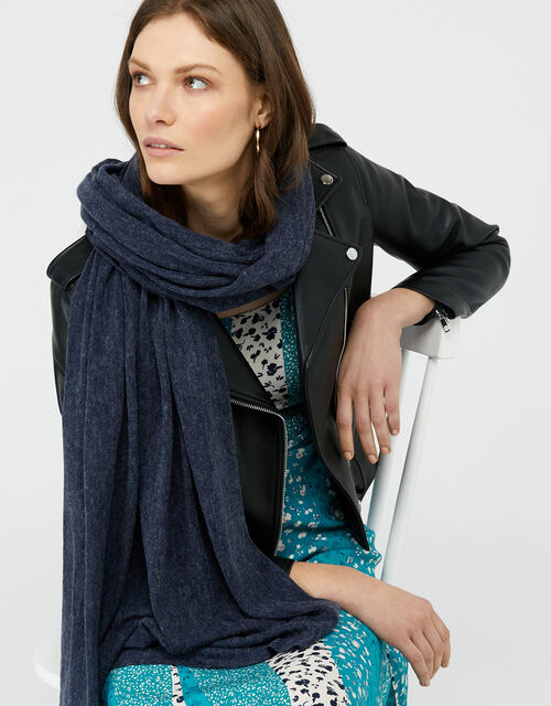 Lightweight Knitted Scarf, Grey (CHARCOAL), large