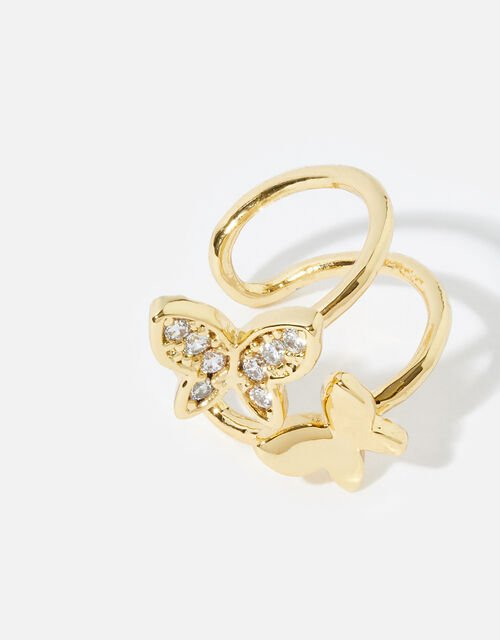 Gold-Plated Butterfly Ear Cuff, , large