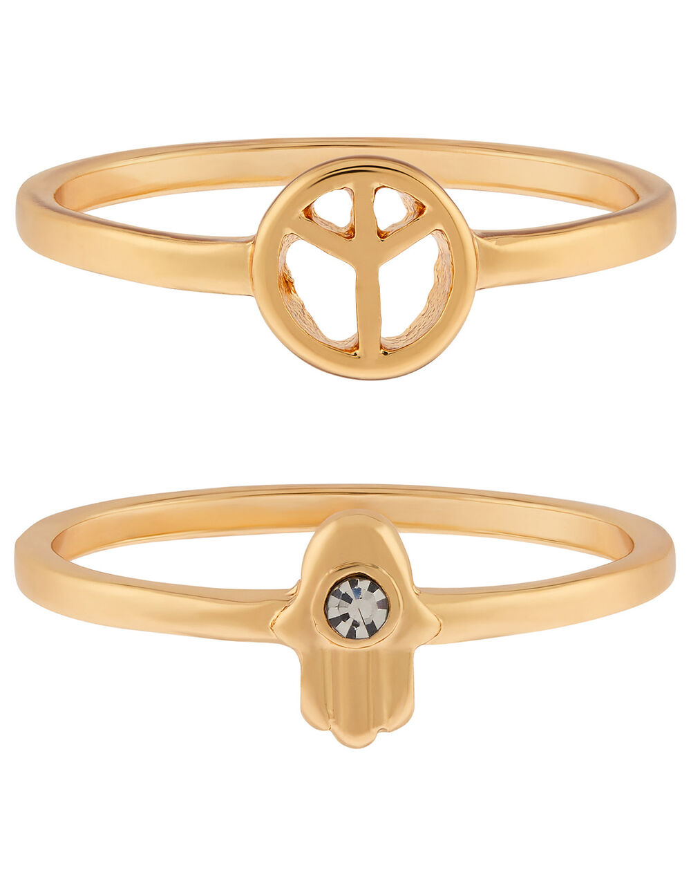 Peace and Hasma Hand Stacking Ring Set, Gold (GOLD), large