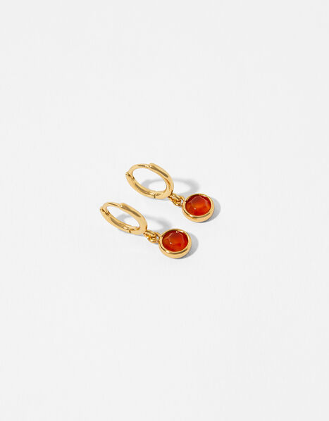 Gold-Plated Birthstone Earrings - July, , large