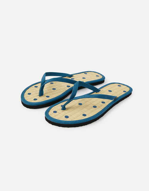 Spot Seagrass Flip Flops , Blue (NAVY), large