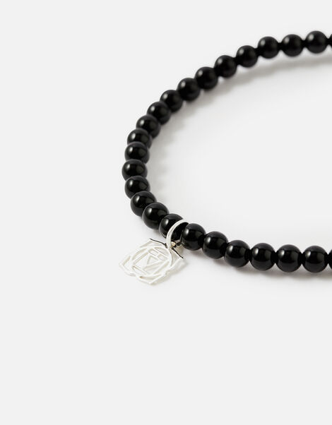 Sterling Silver Root Chakra Bracelet with Black Onyx, , large