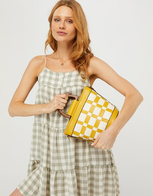 Contrast Weave Handheld Bucket Bag, Yellow (YELLOW), large