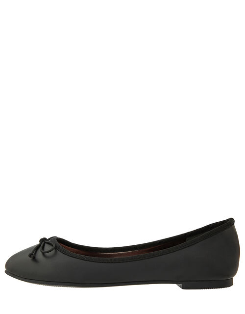Bow Ballerina Flat Shoes, Black (BLACK), large
