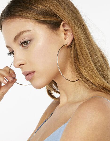 Large Simple Hoop Earrings Silver, Silver (SILVER), large