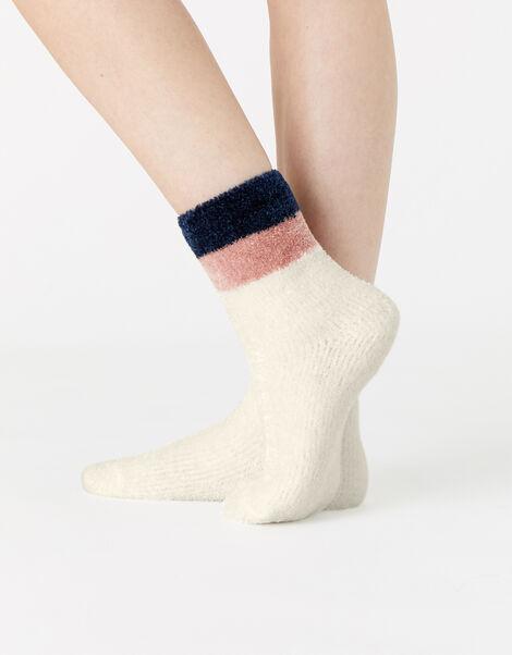 Fluffy Stripe Chenille Ankle Socks  Cream, Cream (CREAM), large