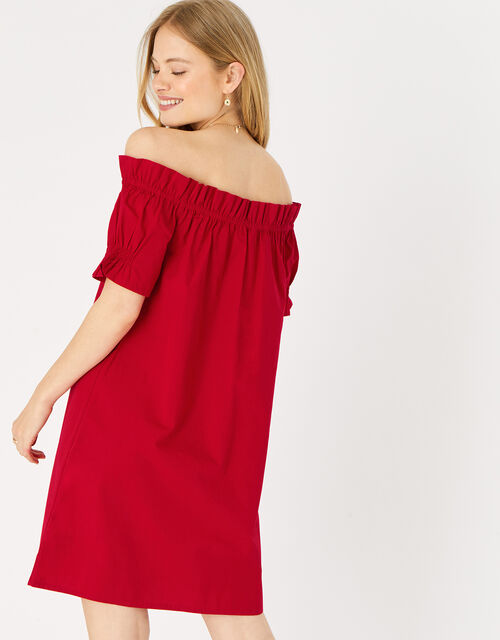 Poplin Frill Bardot Dress , Red (RED), large