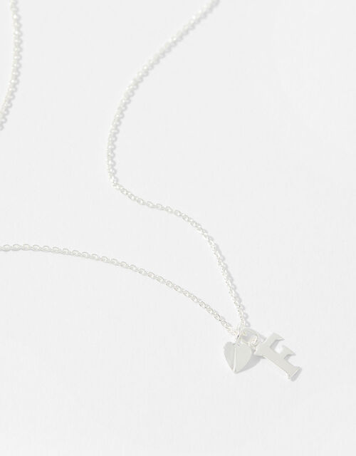 Sterling Silver Heart Initial Necklace - F, , large