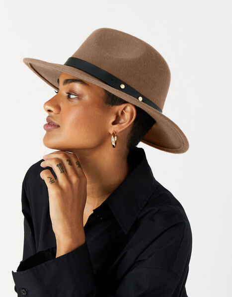 Camilla Fedora Hat in Pure Wool Brown, Brown (CHOCOLATE), large