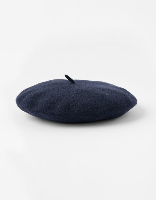 Beret Hat in Pure Wool, Blue (NAVY), large