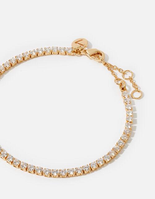 Gold-Plated Crystal Tennis Bracelet, , large