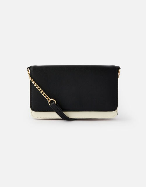 Pia Colourblock Chain Purse, Black (BLACK/WHITE), large