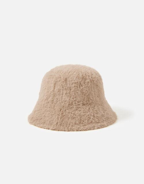 Fluffy Bucket Hat, Camel (CAMEL), large