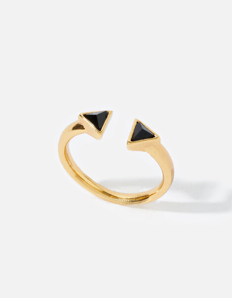 Gold-Plated Healing Stone Onyx Pyramid Ring Gold, Gold (GOLD), large