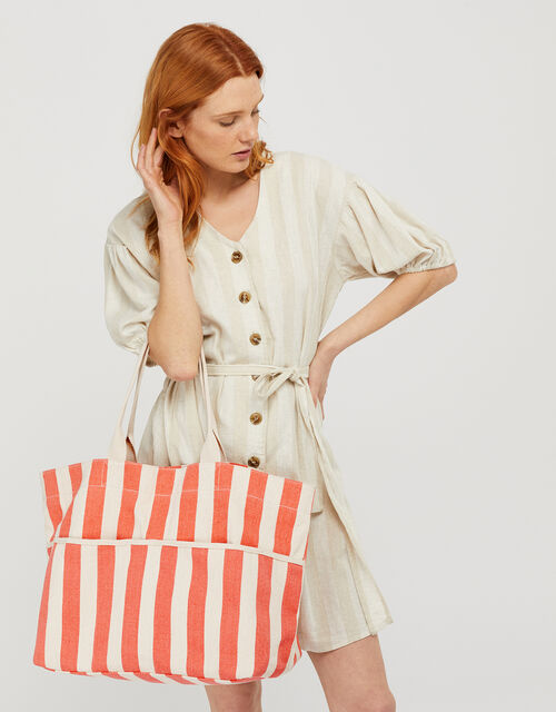 Woven Striped Tote Bag, Orange (CORAL), large