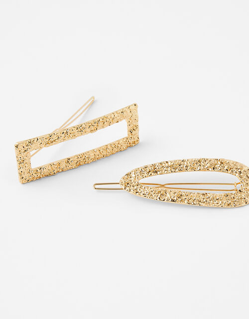 Golden Textured Hair Clips, , large