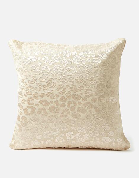 Embroidered Tonal Leopard Cushion, , large