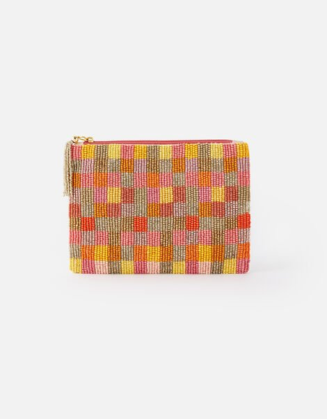 Beaded Check Pouch Bag, , large