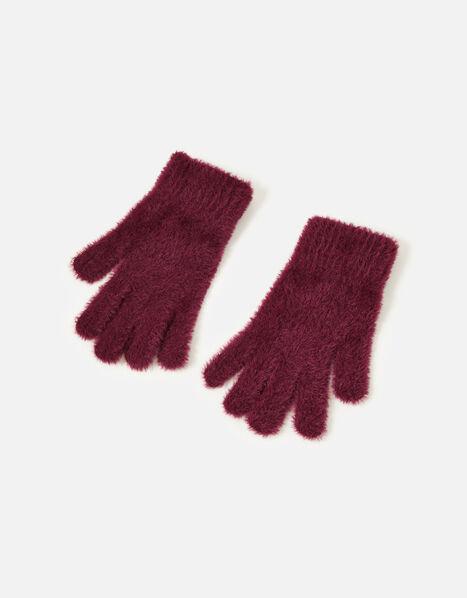 Super-Stretch Fluffy Knit Gloves Red, Red (BURGUNDY), large