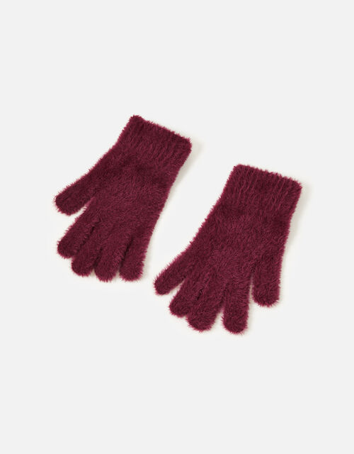 Super-Stretch Fluffy Knit Gloves, Green (GREEN), large