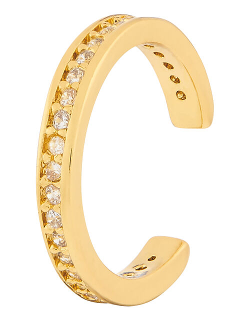 Gold-Plated Pave Ear Cuff, , large
