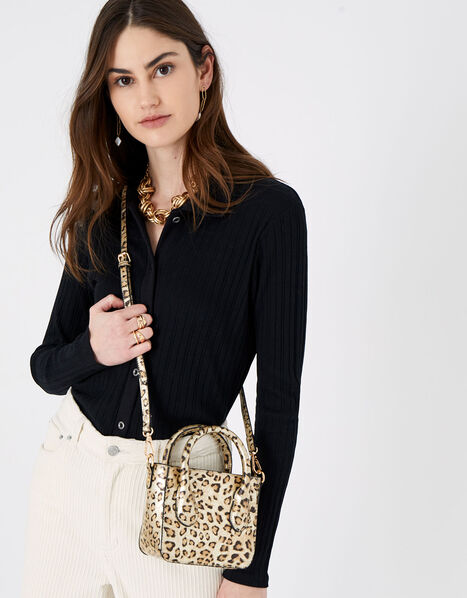 Mindy Leopard Handheld Bag, , large