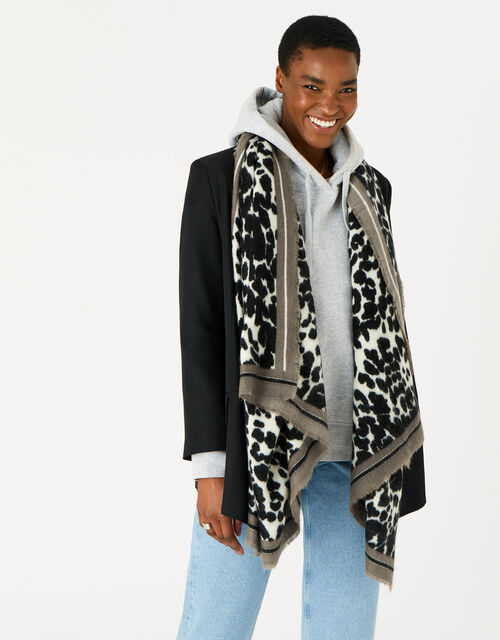 Lucy Leopard Soft Blanket Scarf, , large
