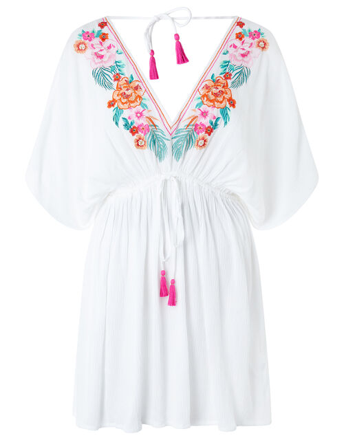 Crinkled Kaftan with Floral Embroidery, White (WHITE), large