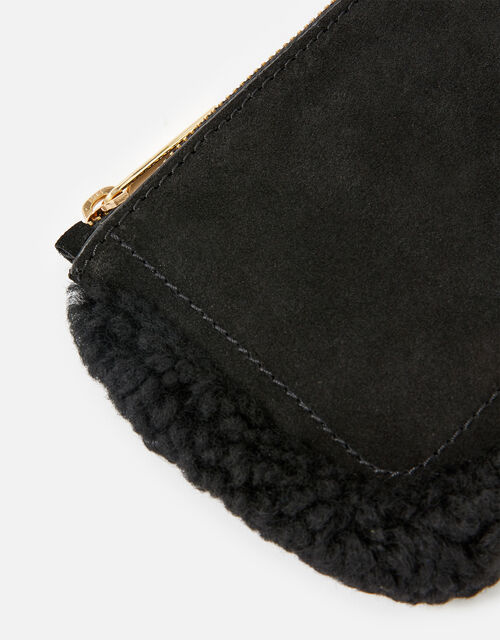Shearling Leather Pouch, Black (BLACK), large