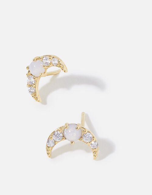 Gold-Plated Statement Moon Stud Earrings, , large