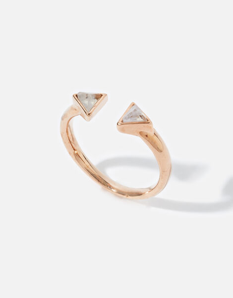 Rose Gold-Plated Healing Stone Clear Quartz Pyramid Ring Gold, Gold (ROSE GOLD), large