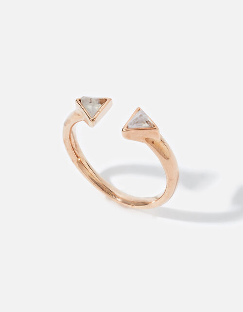 Rose Gold-Plated Healing Stone Clear Quartz Pyramid Ring, Gold (ROSE GOLD), large