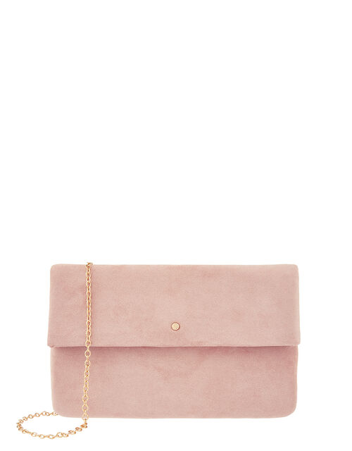 Soft Faux Suede Foldover Clutch, , large