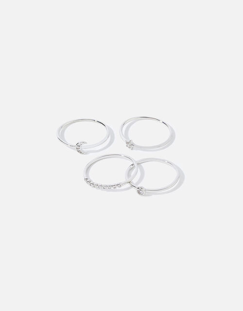 Platinum-Plated Celestial Ring Multipack, Silver (SILVER), large