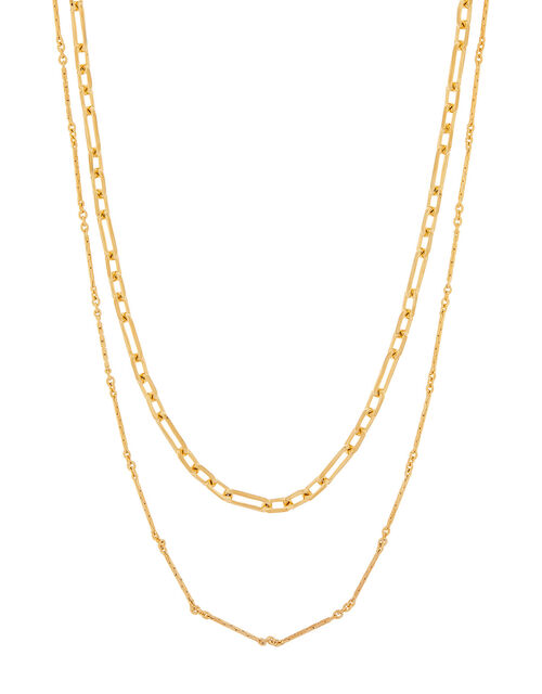 Gold-Plated Fancy Link Layered Necklace, , large