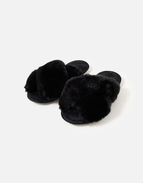 Luxe Faux Fur Sliders Black, Black (BLACK), large