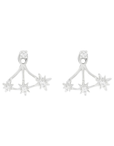 Platinum-Plated Crystal Star Ear Jackets, , large