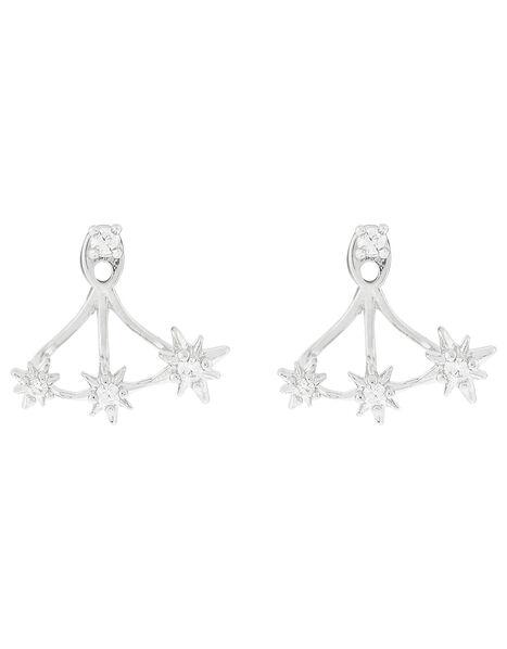 Platinum-Plated Crystal Star Ear Jackets, , large