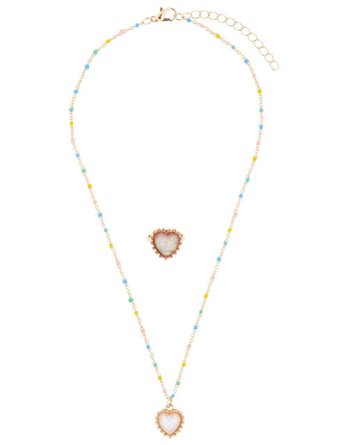 Rainbow Heart Necklace and Ring Set, , large