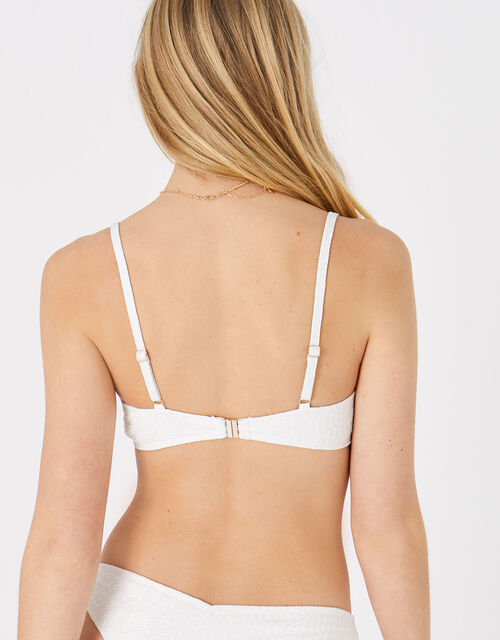 Buckle Front Textured Bikini Top, Natural (IVORY), large